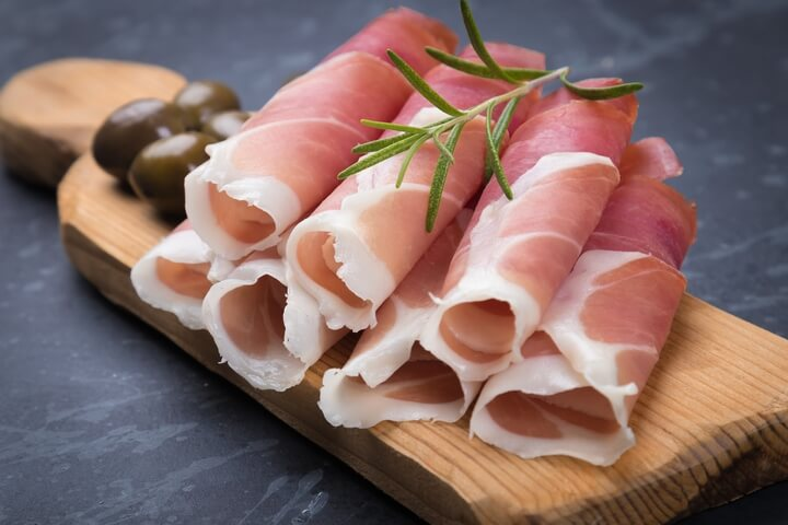 Prosciutto is one of the traditional Italian food dishes.